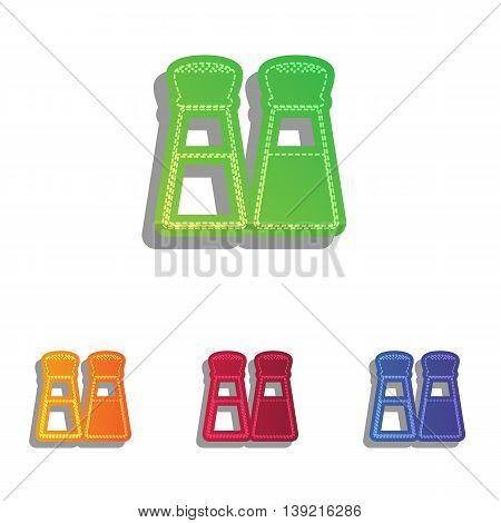 Salt and pepper sign. Colorfull applique icons set.