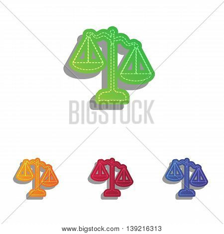Scales of Justice sign. Colorfull applique icons set.