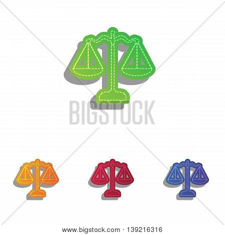 Scales balance sign. Colorfull applique icons set.