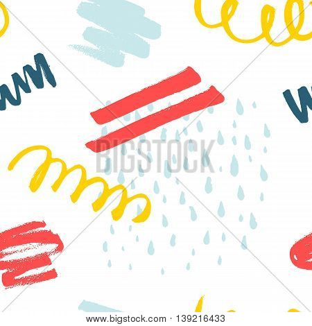Abstract decorative seamless pattern with handdrawn shapes. Hand painted colorful design elements with rough edges on white backdrop. Endless background for decor, wrapping or cloth.