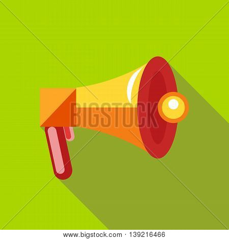 Megaphone, loudspeaker icon in flat style on a green background