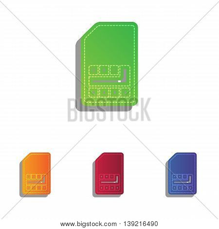 Sim card sign. Colorfull applique icons set.