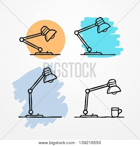 Collection of flexible table lamps in rough sketchy flat style. Vector stock illustration.