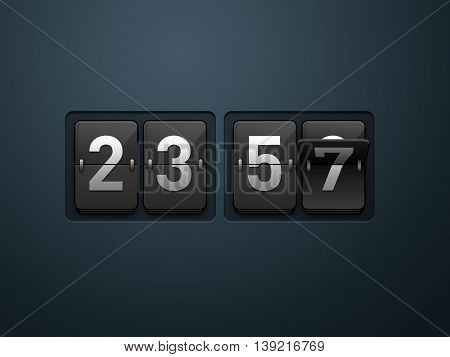 World Doomsday 23.57 black Time Flip clock. 3D Illustration