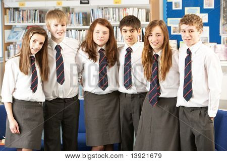 Portrait Of Group Of Teenage Students In Library