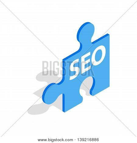 SEO blue puzzle icon in isometric 3d style on a white background