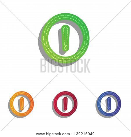Exclamation mark sign. Colorfull applique icons set.