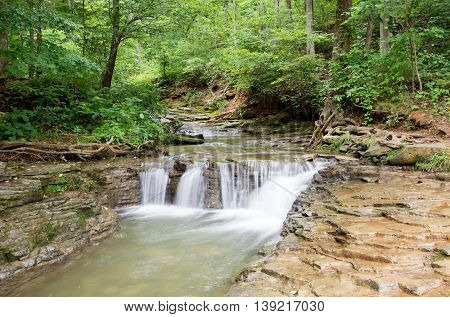 A waterfall at Saunders Springs in Radcliff, Kentucky.