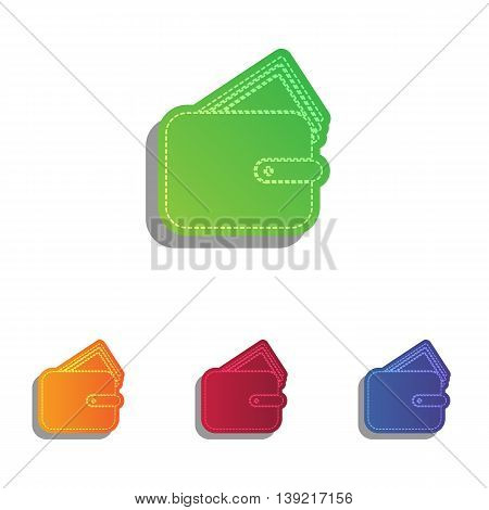 Wallet sign illustration. Colorfull applique icons set.