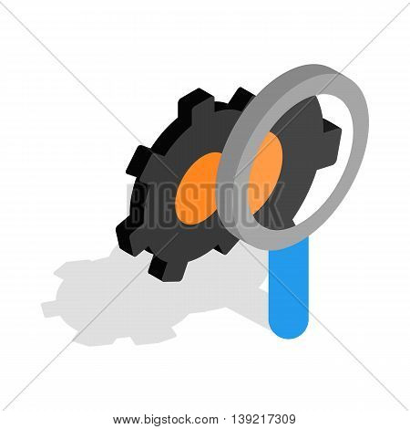 Magnifying Glass and gears icon in isometric 3d style on a white background