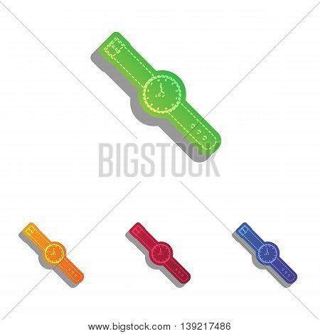 Watch sign illustration. Colorfull applique icons set.