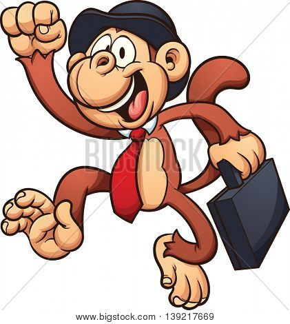 Monkey with a bowler hat and briefcase. Vector clip art illustration with simple gradients. All in a single layer.