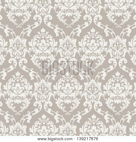 Vector Classic Luxury Damask pattern. Luxury floral stylish texture of damask or baroque style. Beige pastel color ornament