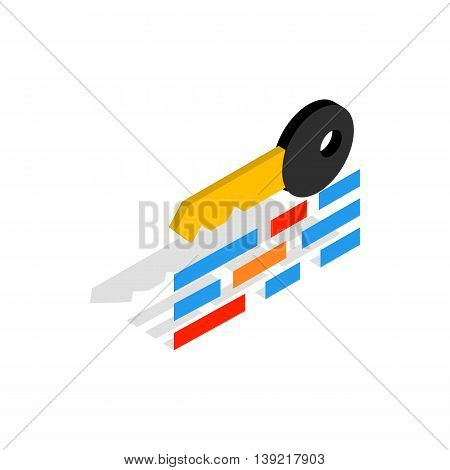 Data protection icon in isometric 3d style on a white background