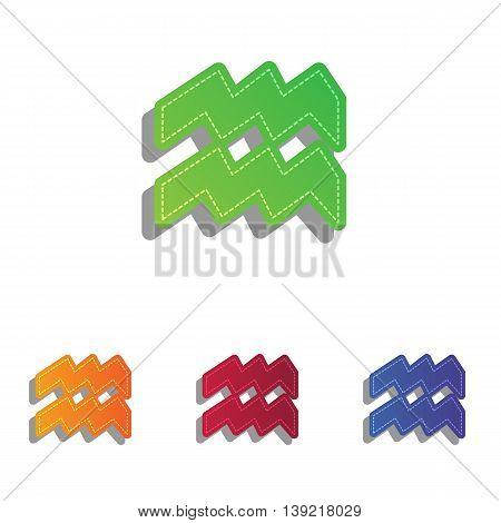 Aquarius sign illustration. Colorfull applique icons set.