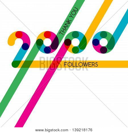 Thanks 2000 Follower, Vector Banner, Badge Or Poster For Blogs And Social Networks.