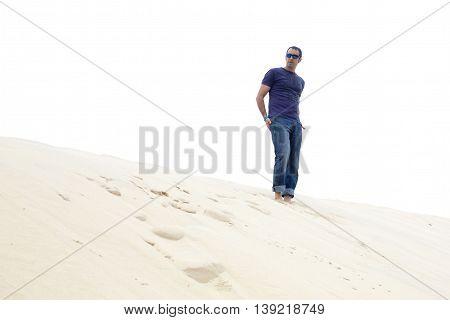 Fashion Guy Waiting In The Dune Du Pyla, France