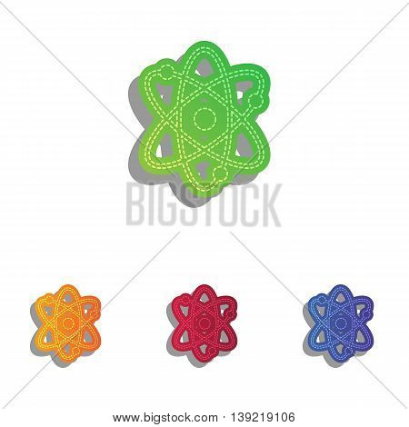 Atom sign illustration. Colorfull applique icons set.