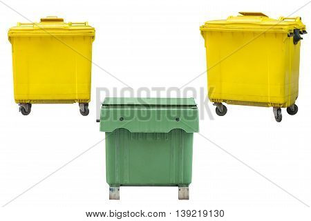 green and yellow dumpsters isolated on white background