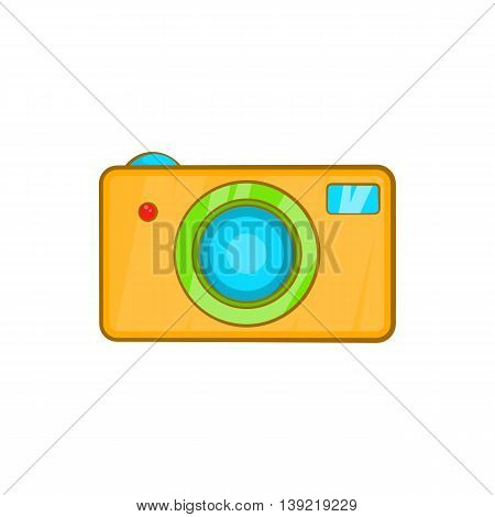 Yellow camera icon in cartoon style on a white background