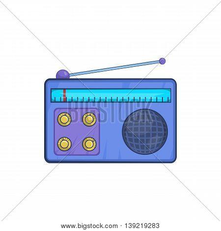 Retro radio receiver icon in cartoon style on a white background
