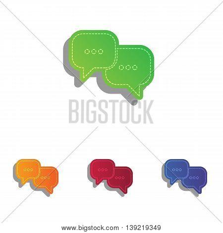 Speech bubbles sign. Colorfull applique icons set.