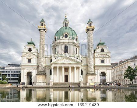 VIENNA, AUSTRIA, JULY 2,2016: Exterior shot of St. Charles's Church (Karlskirche), a baroque church located on the south side of Karlsplatz in Vienna, Austria.