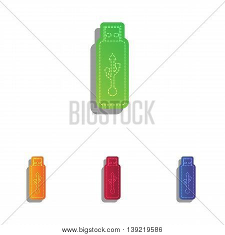 Vector USB flash drive sign. Colorfull applique icons set.