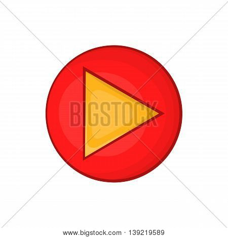Red play button icon in cartoon style on a white background