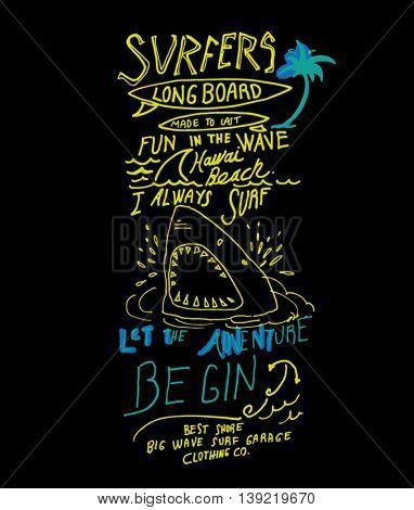 shark surf beach typography sketch illustration
