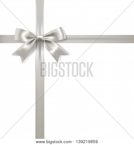 silver bow decoration and ribbon on white background. vector