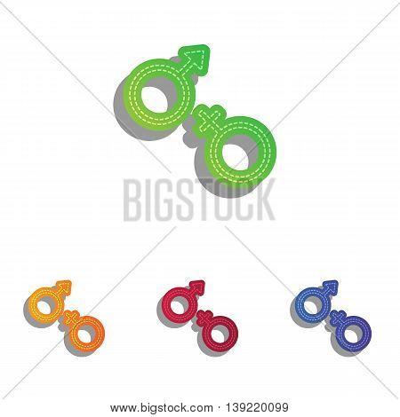 Sex symbol sign. Colorfull applique icons set.