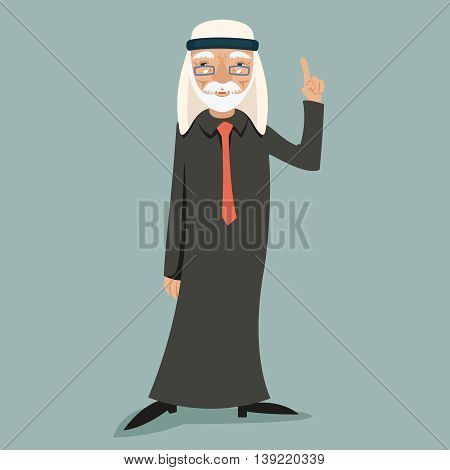 Old Adult Wise Vintage Arab Smiling Happy Businessman Character Icon Stylish Background Retro Cartoon Design Vector Illustration