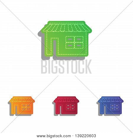 Store sign illustration. Colorfull applique icons set.