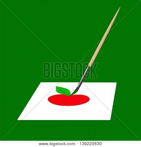 The brush paints a red apple on a white sheet. Vector illustration.