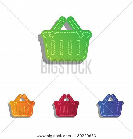 Shopping basket sign. Colorfull applique icons set.