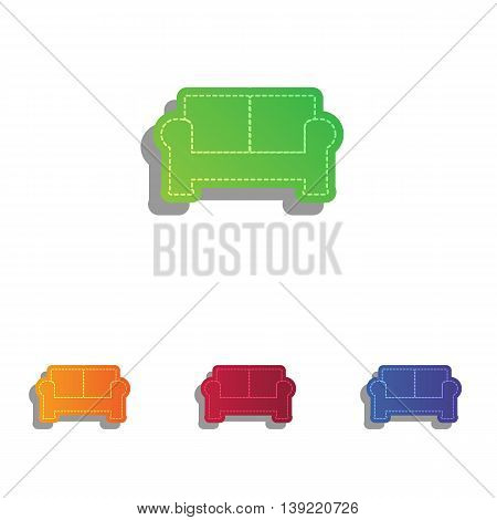 Sofa sign illustration. Colorfull applique icons set.