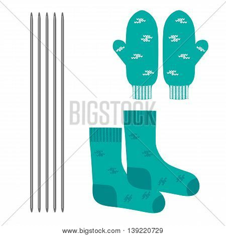 A set of knitted clothes. Mittens and socks. Vector illustration.
