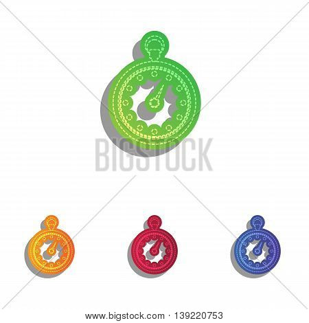 Stopwatch sign illustration. Colorfull applique icons set.