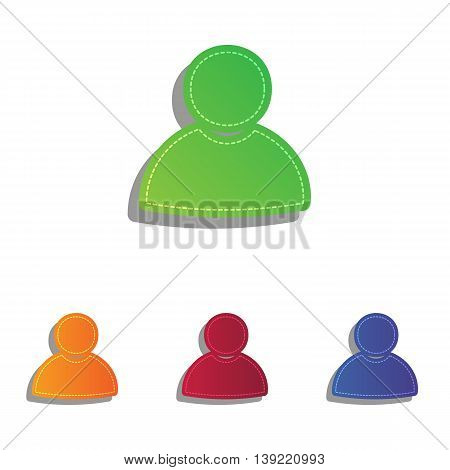 User sign illustration. Colorfull applique icons set.