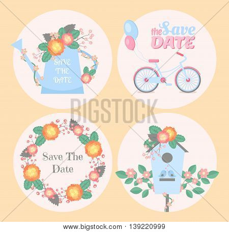 Set of wedding romantic cards. Vector collection of four romantic cards. Save the date cards