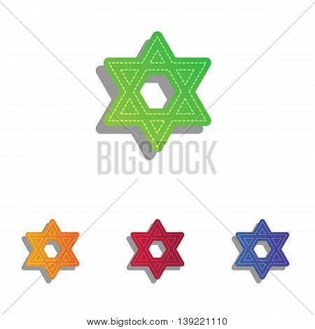 Shield Magen David Star. Symbol of Israel. Colorfull applique icons set.