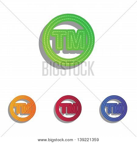 Trade mark sign. Colorfull applique icons set.