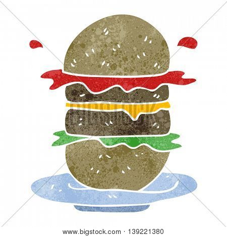 freehand retro cartoon burger