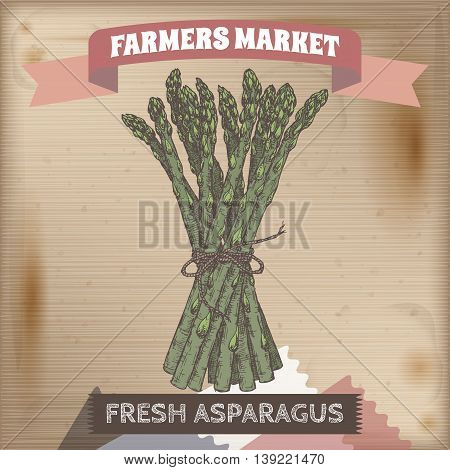 Famer market label with asparagus bunch color sketch placed on wooden background. Great for markets, grocery stores, organic shops, food label design.