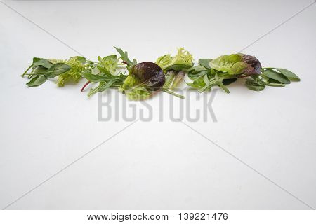 Leafy Green Salad Ingredients Arranged In A Straight Line Background, Pattern, Border