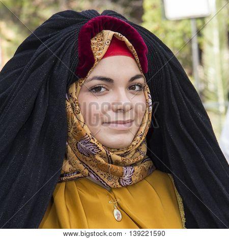 SELARGIUS, ITALY - September 8, 2013: Former marriage Selargino - Sardinia - portrait of a beautiful woman in traditional Sardinian costume