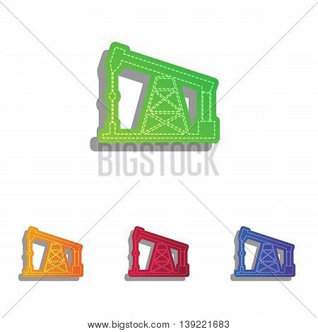 Oil drilling rig sign. Colorfull applique icons set.