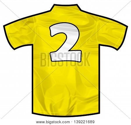 Number 2 two yellow sport shirt as a soccer, hockey, basket, rugby, baseball, volley or football team t-shirt. Like brazil national team
