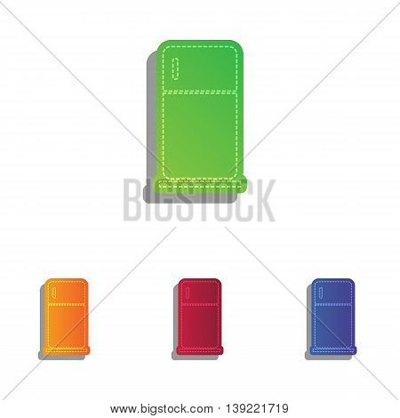 Refrigerator sign illustration. Colorfull applique icons set.